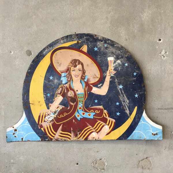 "Vintage Miller High Life Sign ""Girl on the Moon"""