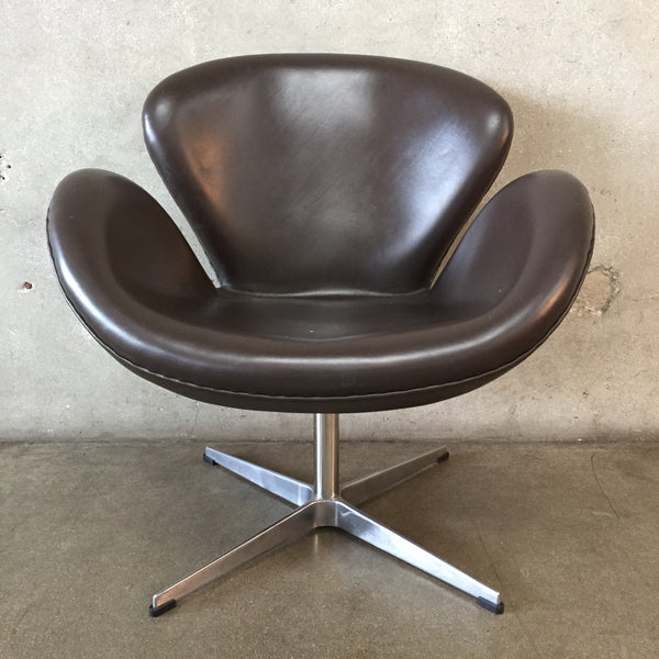 Mid Century Style Brown Swivel Chair