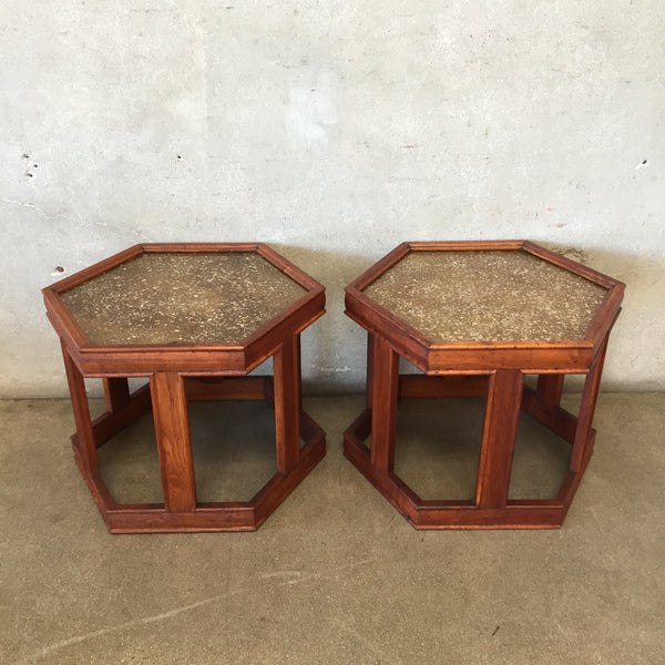 Mid Century Hexagon Side Tables by Brown Saltman