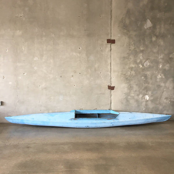 1950's Canvas Blue Kayak with Paddle