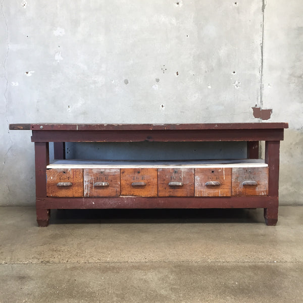 Vintage Wood Work Bench with Drawers