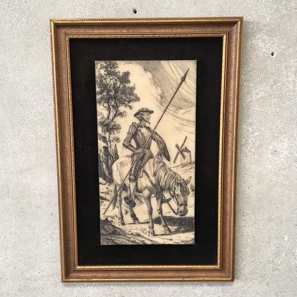Vintage Don Quixote Scrimshaw Art Work