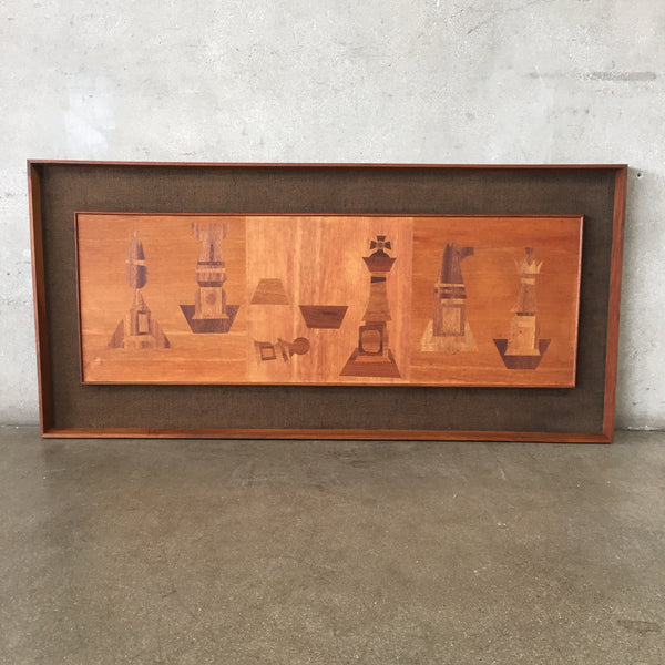 Mid Century Modern Teak Wood Chess Wall Art