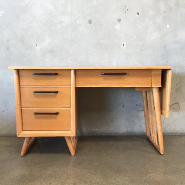 Mid Century Solid Wood Desk with Extension