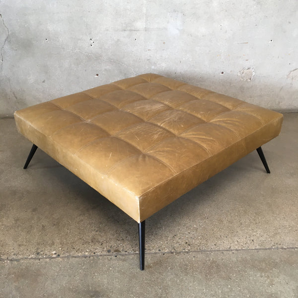 Oversized Leather Square Ottoman