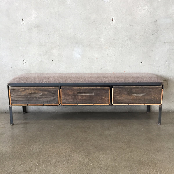 Industrial Three Drawer Crate Bench