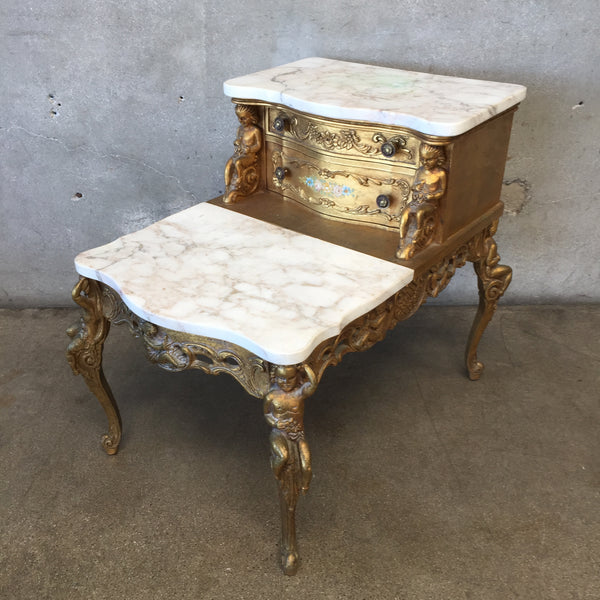 Vintage Hollywood Regency Gold-Leafed Side Table