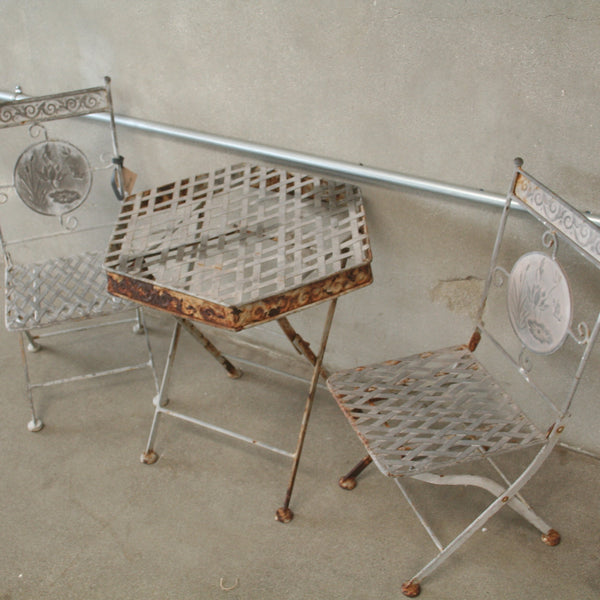 Childs Iron Table and Chairs
