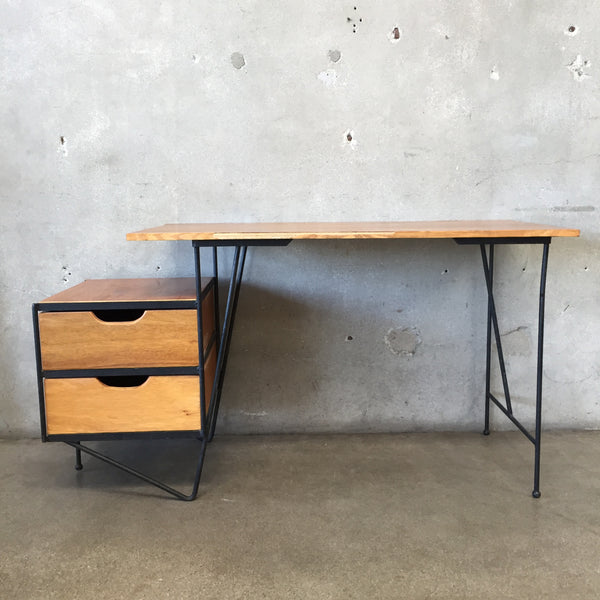 Mid Century Desk with Side Drawers by Vista of California
