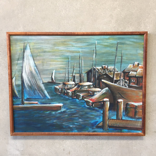 Mid Century Signed Painting Blue Boats