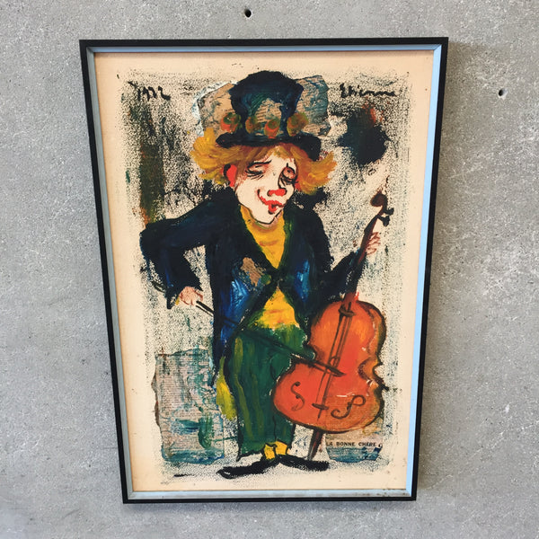 Mixed Media Clown Painting Signed Etienne 1972