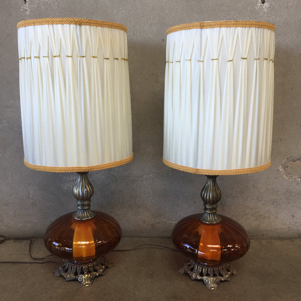 Pair of Vintage Amber Glass Lamps
