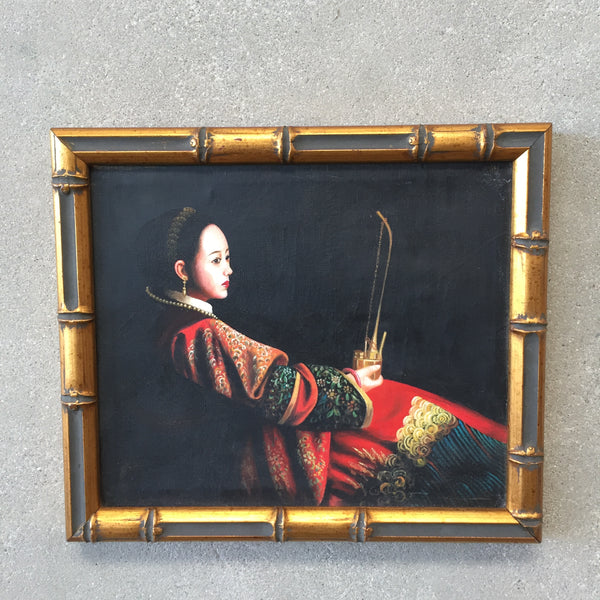 Mid Century Original Chiaroscuro Oil Painting in Gilded Frame