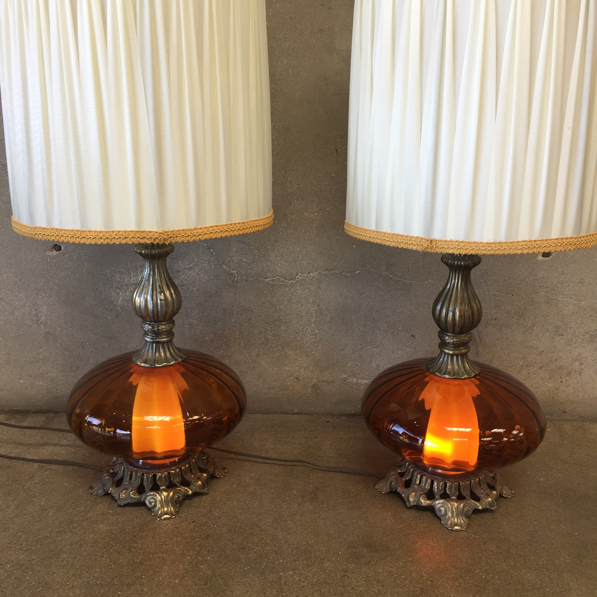 ... Pair Of Vintage Amber Glass Lamps ...