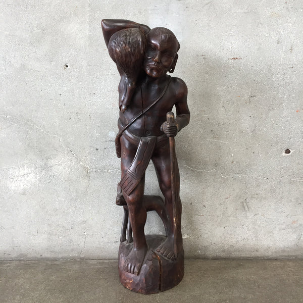 Vintage Wood Hunter Sculpture