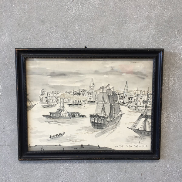 "Original 1875 Maritime Water Painting ""New York Water Front"""