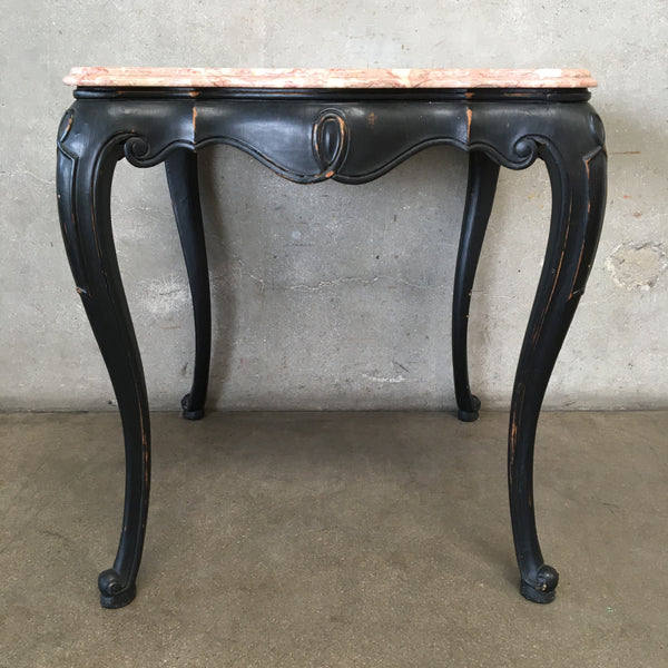 Vintage Black Side Table with Marble Top