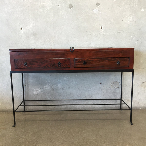 Two Drawer Console Table with Iron Stand