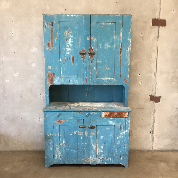 Primitive Antique Blue Hutch