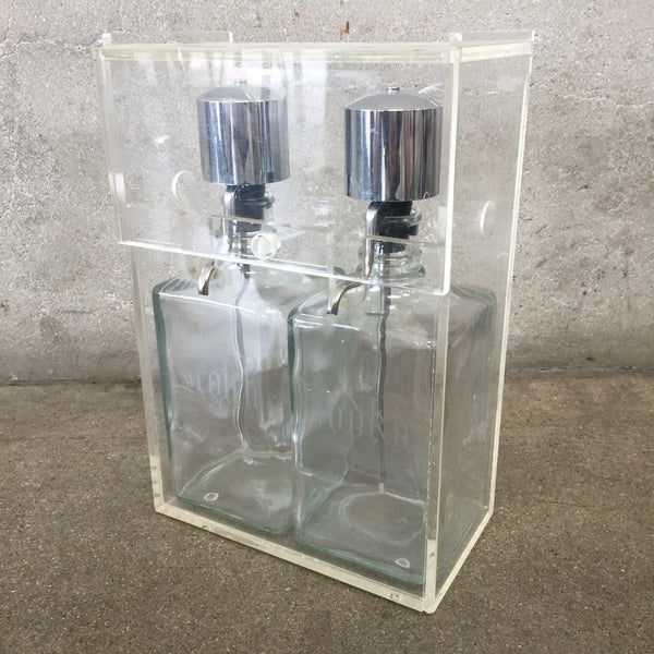 Mid Century Scotch & Vodka Pump Decanter Set