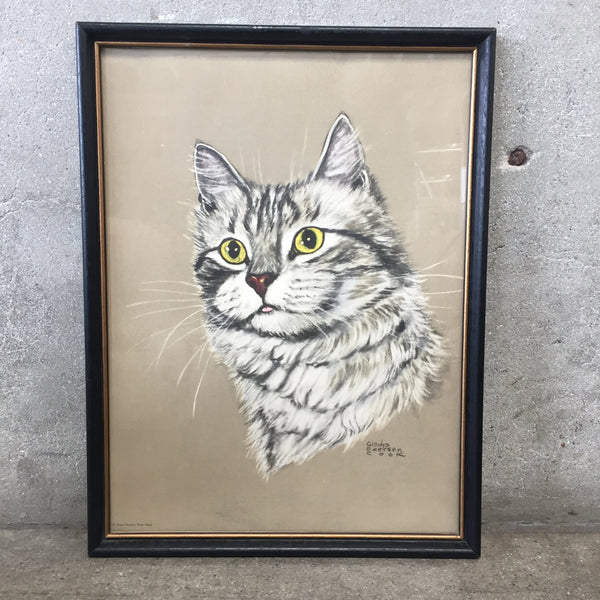 Pastel Cat Portrait Signed Gladys Emerson Cook