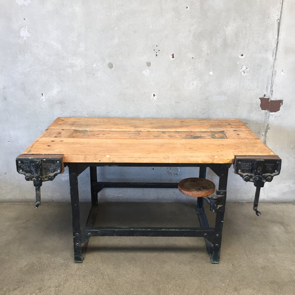 Vintage Industrial Work Bench with Swing Out Stool