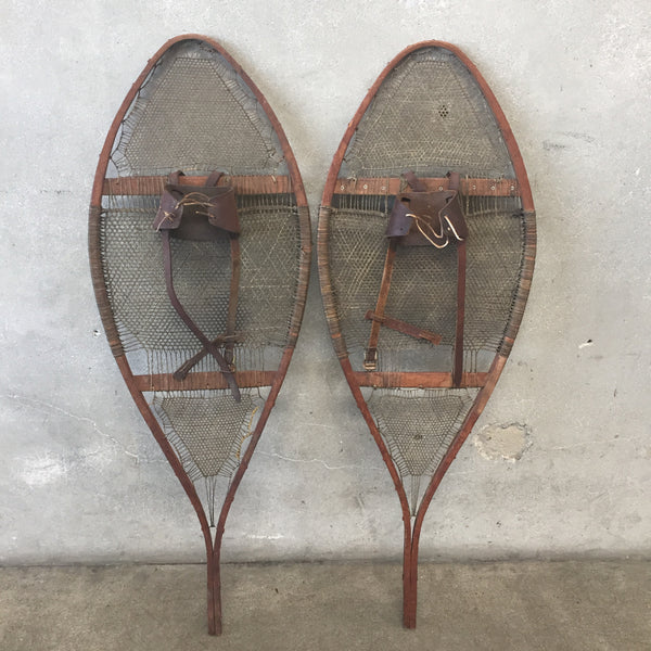 Vintage Leather & Wood Snowshoes