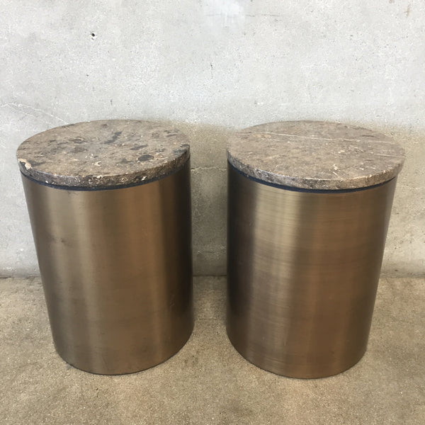 Pair Marble Top Metal Base Tables