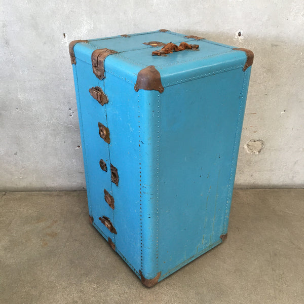 Vintage Turquoise Rolling Steamer Trunk