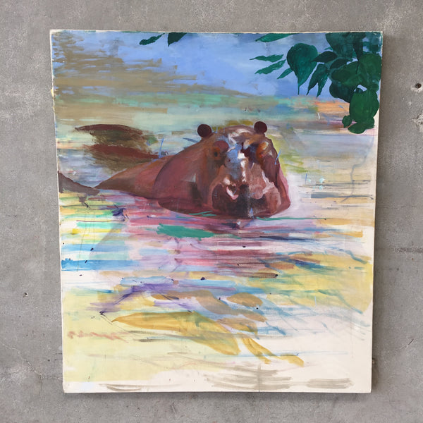 Africa Hippo Painting by Sam Amato