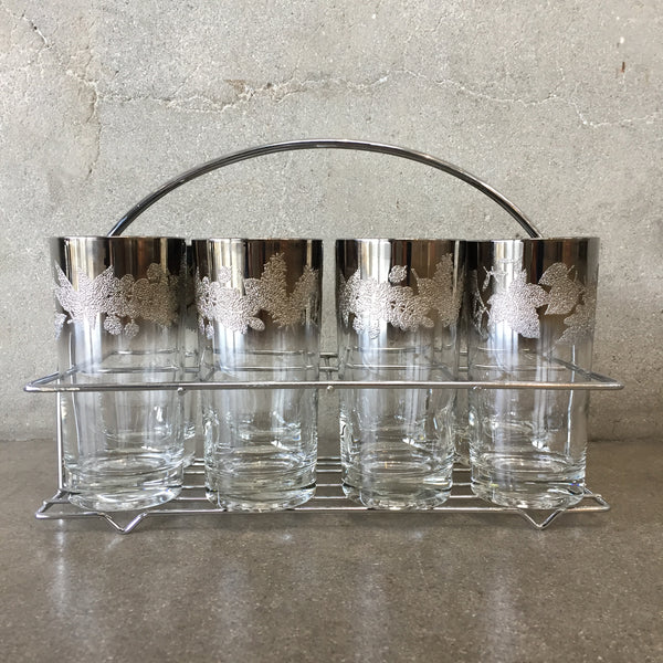Set of Eight Mid Century Modern Silver Edge Glasses