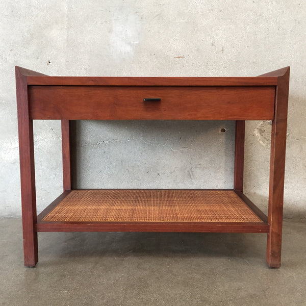 Vintage Mid Century Two Tier Cane Bottom Table
