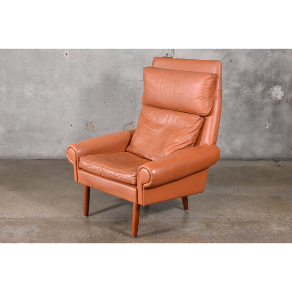 Danish High Back Leather Lounge Chair