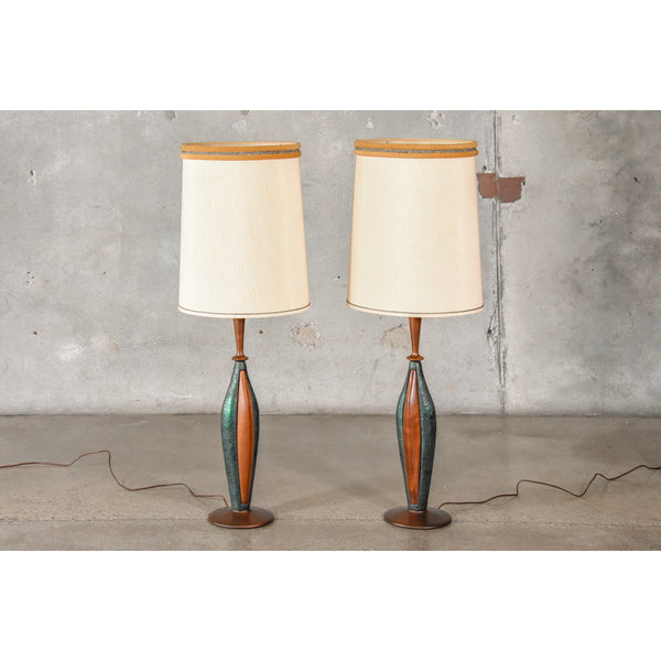 Pair of Walnut and Ceramic Table Lamps