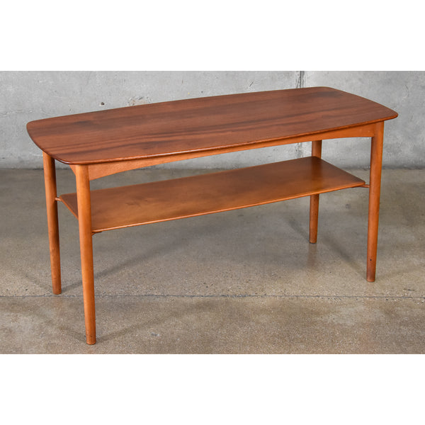 Solid Teak and Beech Coffee or Console Table