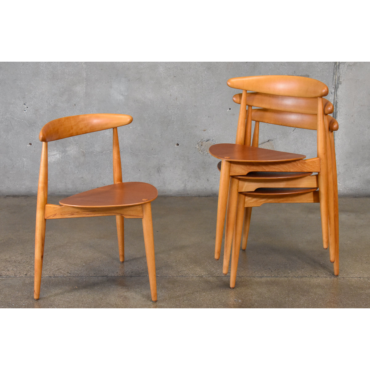 Set Of Four Hans Wegner Heart Chairs ...
