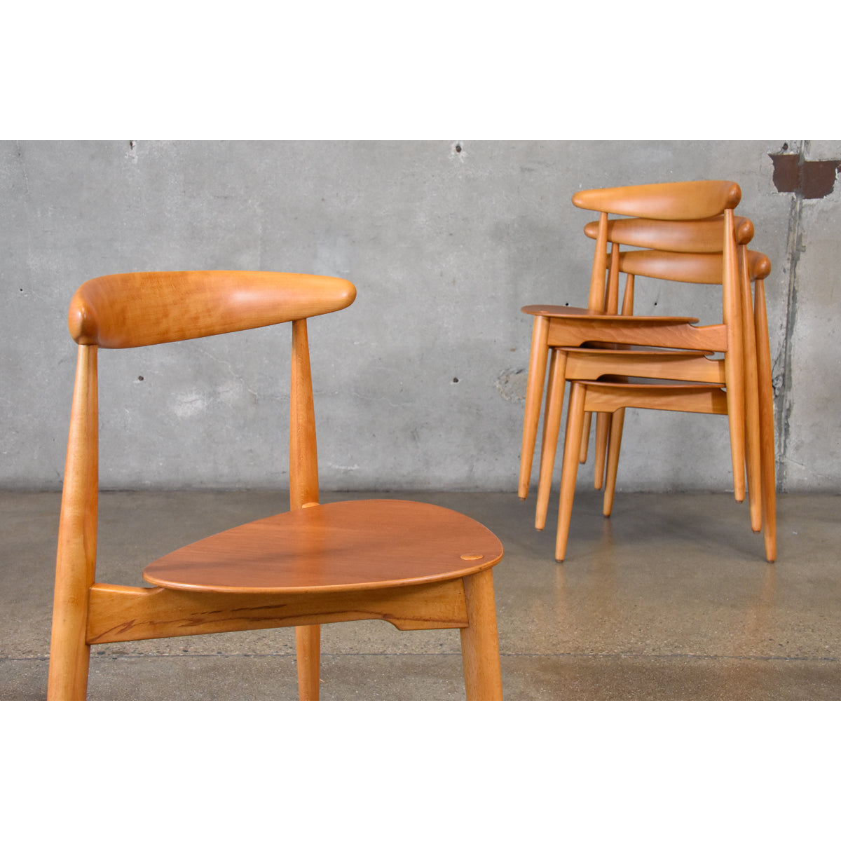 ... Set Of Four Hans Wegner Heart Chairs ...