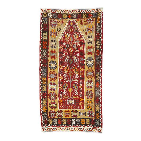 "VINTAGE ANATOLIAN KILIM IN RED + GOLD 3'10"" X 7'7"""