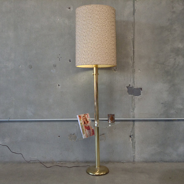 Lucite and Brass 70's Table Lamp