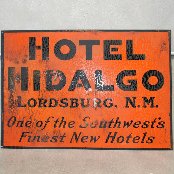 Hotel Hidalgo Porcelain Sign