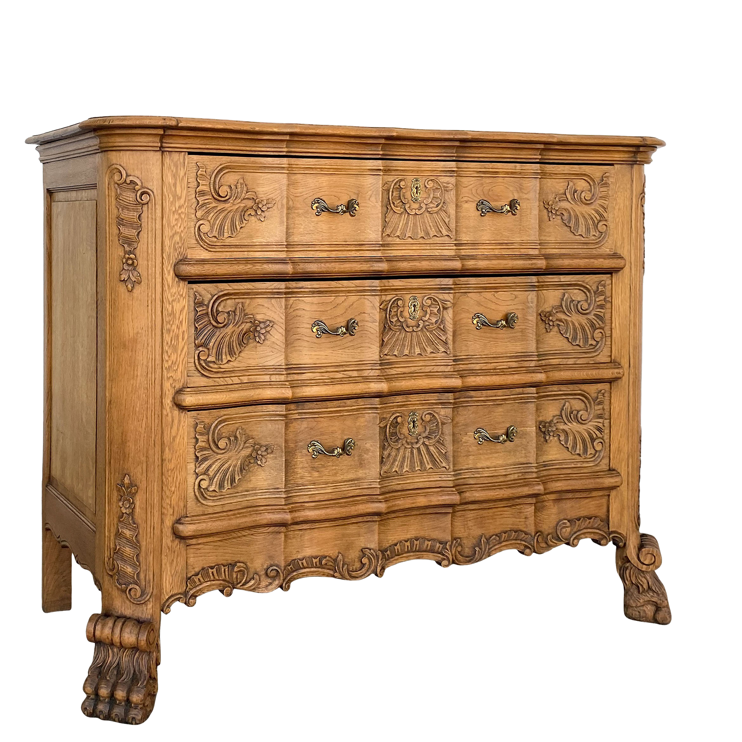 Bleached French Carved Chest of Drawers