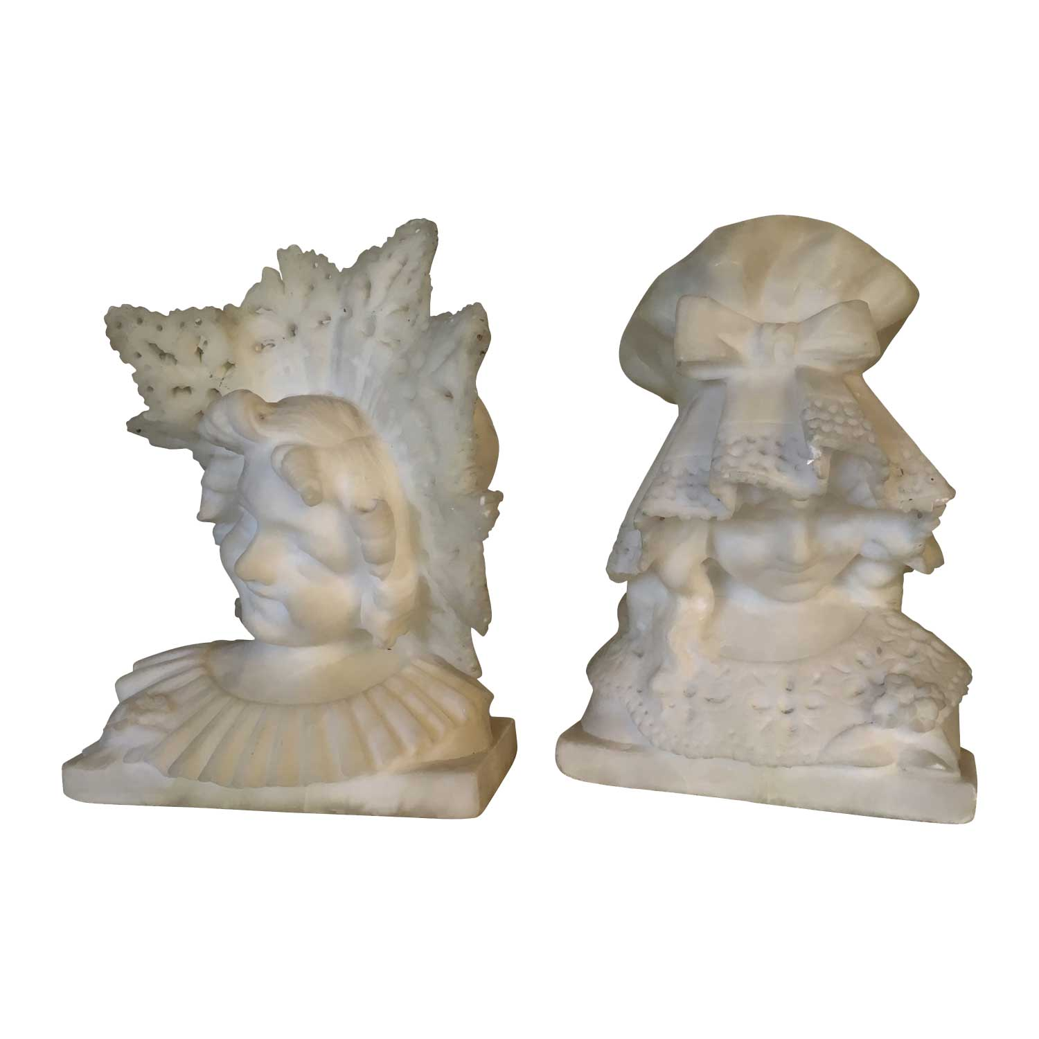 Pair of Alabaster Girl's Busts