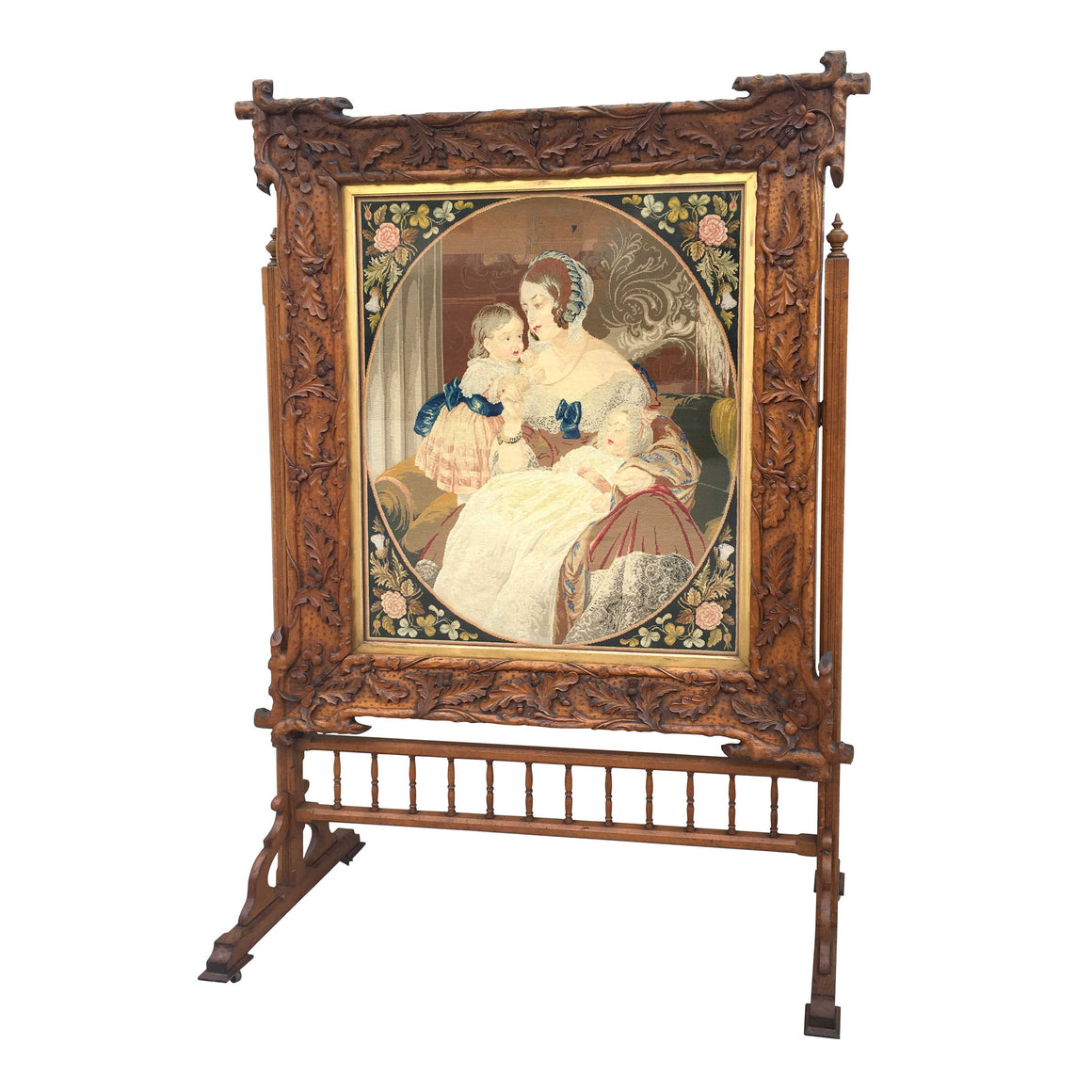Large 19th Century woolwork portrait in Carved oak Frame