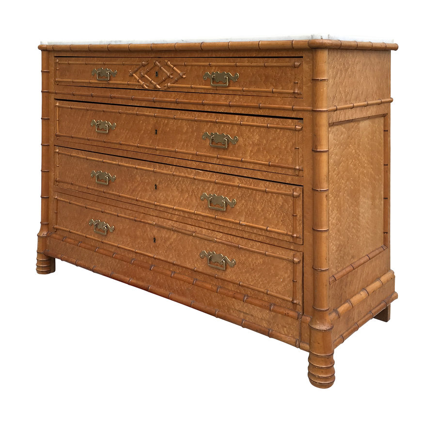 Faux Bamboo Trimmed Marble Top Chest of Drawers
