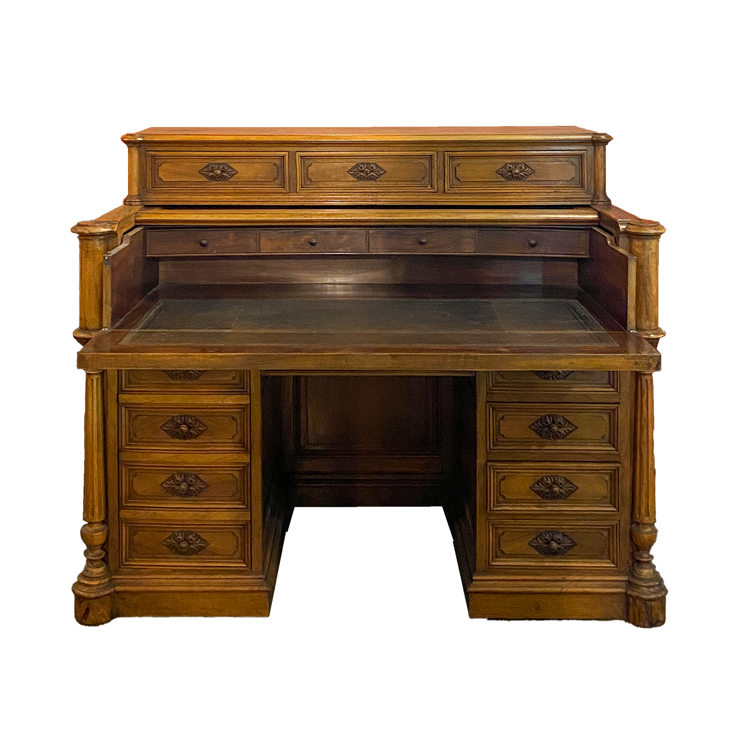 French Faded Walnut Pullout Desk