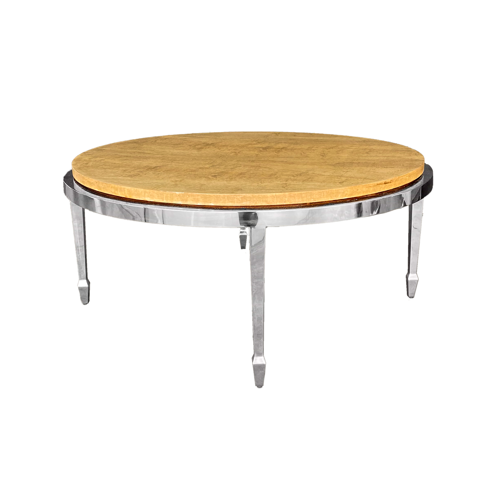 Circular Stainless & Burl Cocktail Table