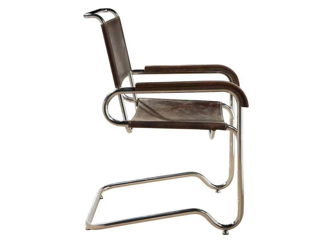 Stitched Leather Stainless Steel Arm Chair