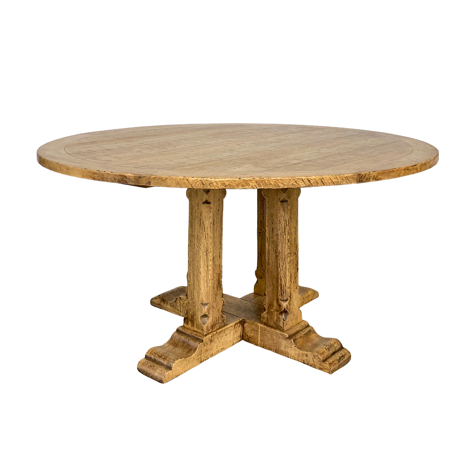 Plank Top Round Dining Table