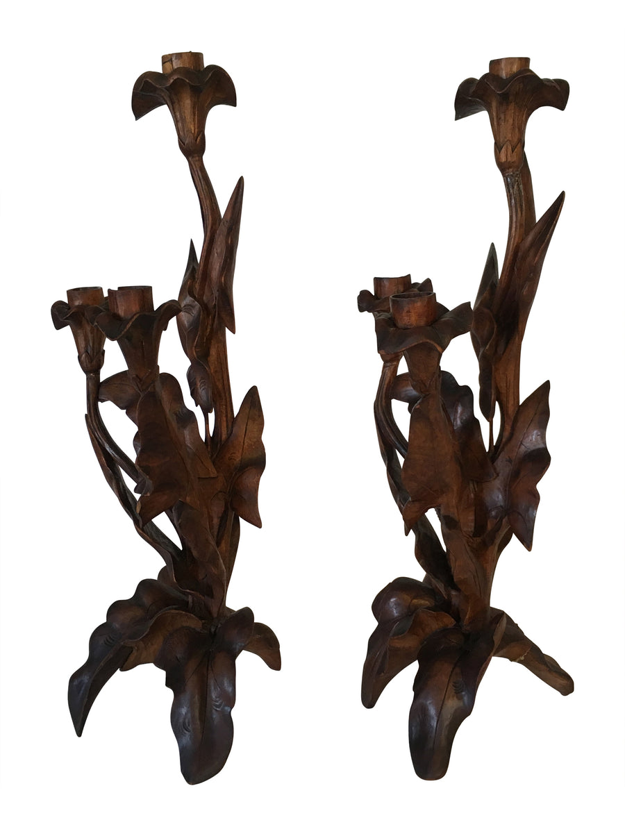 Pair of Hand Carved Candlesticks
