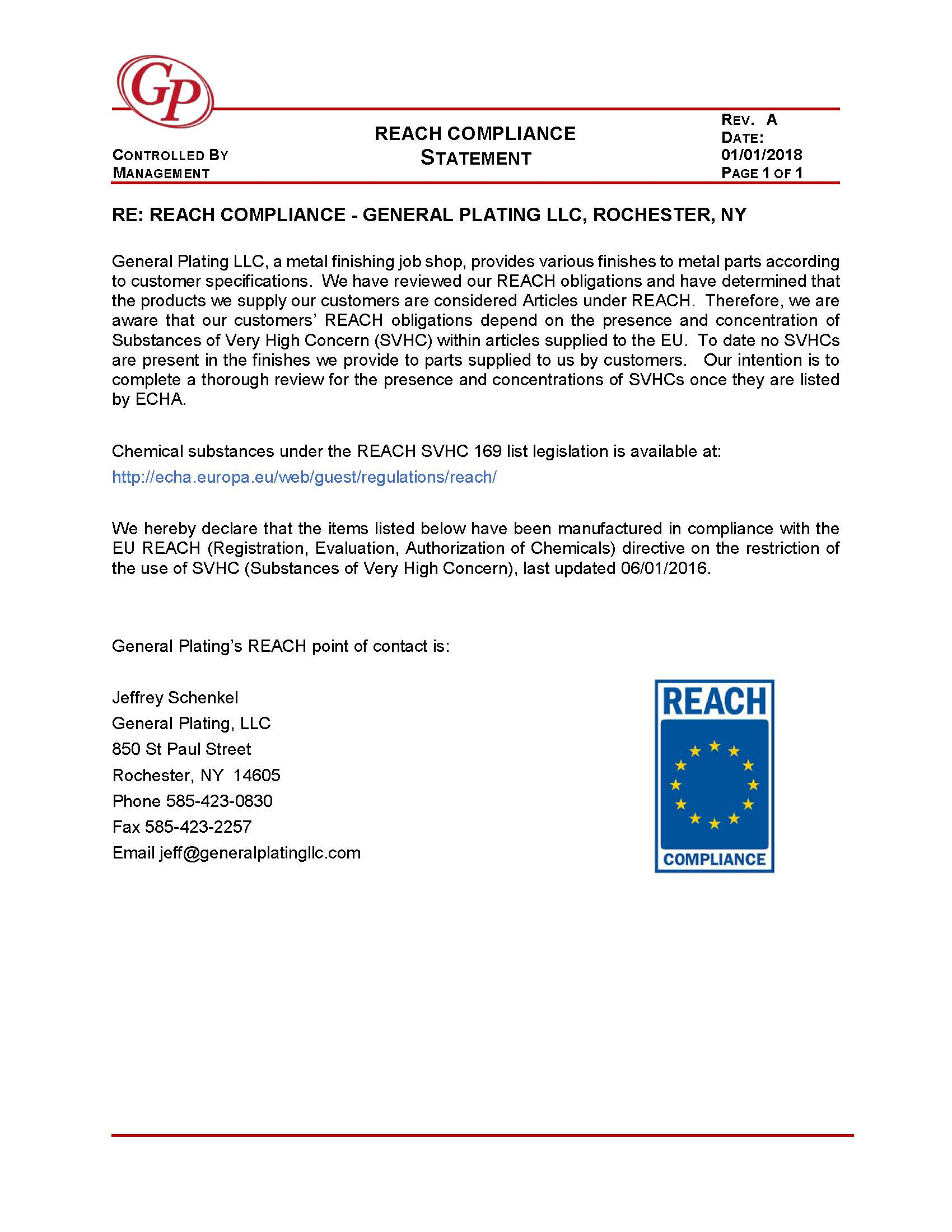 General Plating, LLC REACH compliance form DOWNLOAD